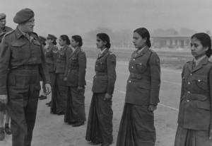 Year: 1947. Field Marshal Sir Claude Auchinleck Inspecting Members of the Indian Women's Auxiliary Corps. There might be a few Sikh women in the lineup. Source: National Army Museum
