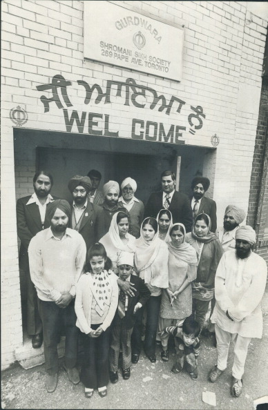 1976. Here, outside the Shromani Sikh Society Gurdwara on Pape Ave in Toronto, are some of its 2,000 Sikh members. Photo by Colin McConnell. Toronto Star via Getty Images.