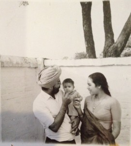 1968. Punjab. Sarjeet Kaur and her husband,.... holding their daughter.... Source: Private Collection.