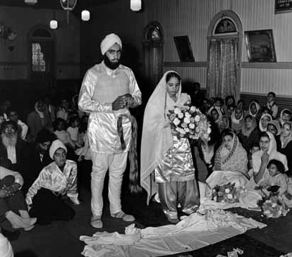 1952. Sikh Wedding in Chilliwack, Cananda. Photo by Leon Holt of the Province Newspaper. Source: Vancouver Public Library.
