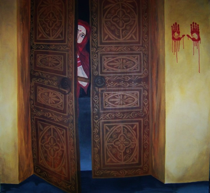 """Uljhan."" This painting is representing the women stuck in bad marriages. I've heard so many horror stories about bad marriages in India where women are forced to live with their husband who rapes them for example, but she has no other choice. Marriage is supposed to be happy but for many it is not."