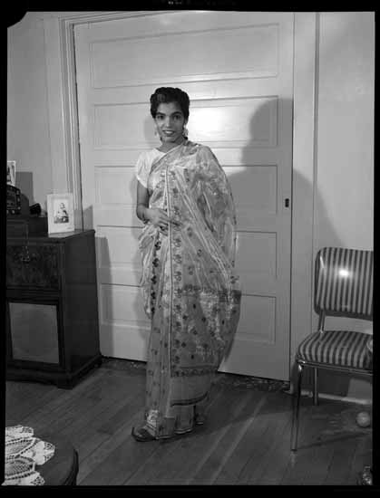 Circa 1960. Sikh woman in a sari in Vancouver. Photographer: Province Newspaper. Source: Vancouver public library.