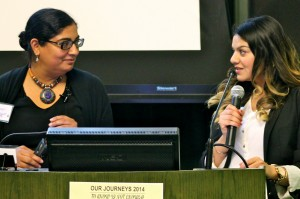 Harpeet Kaur (L) & Tina Sidhu (R) present their research:  How do I play my part? The Role of Sikh Female teachers in creating agency for Sikh Students and Families