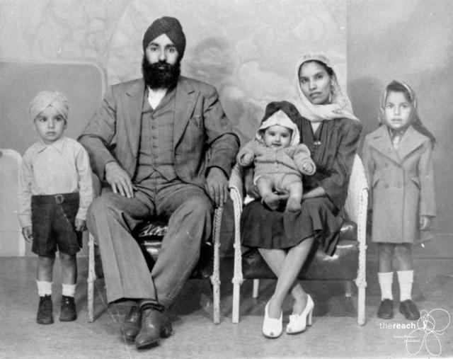 Another photo of Lakha Singh Sidhu and his wife Tej Kaur. L to R: Harcham Singh Sidhu (age 4), Lakha Singh Sidhu (age 35) born in Dhade Punjab, Naginder Singh (age 1), Tej Kaur (age 31) born in Singo, Punjab, and Joginder Kaur (age 2). All of the children were born in Vancouver. Source: Thereach.ca