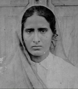 1927. Kartar Kaur (Chohan) Rai. This photo was taken at the time of her marriage at the age of 21 or 22. She grew up in the village of Budhipind, Punjab.