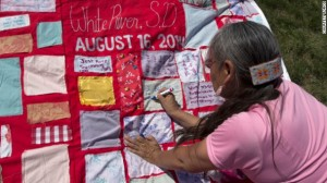The Monument Quilt on display in White River, South Dakota.