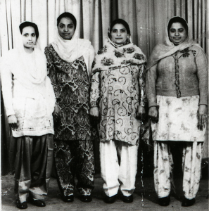 1954. Galsgow. L to R. Jagdish Kaur, Iqbal Kaur, Punjab Kaur, Kartar Kaur. Source: Manchester Archives