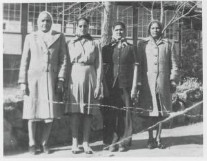 L to R: Naranjan Kaur Singh, Ajit Kaur Singh, Amar Kaur Sangra, and Labh Kaur Sangra. Outside the Aquatic Club in Kelowna, BC. 1946.