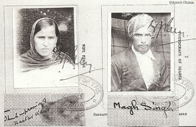Passport photos of Kartar Kaur and husband Magh Singh, for their travels from India to Fiji. c.1930s. Source: http://untappedcities.com/2013/06/22/a-100-year-journey-across-continents-part-ii-fiji/