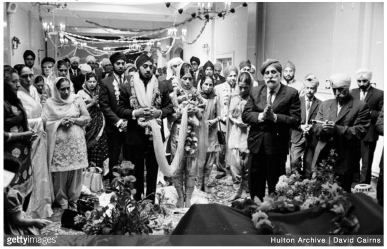 The wedding of Kuljeet Singh & Kaur Grewal (first name unknown) in a typical Sikh wedding at a hotel on July 26, 1965. Unknown location.